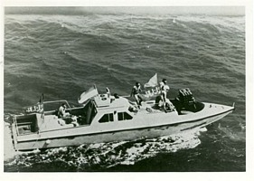 An Iranian boghammer. The Iranian Revolutionary Guard used these fast gunboats to carry out attacks on tankers. U.S. forces fought boats of this type during the battle at Middle Shoals Buoy. See chapter 8. (U.S. Navy Photo)